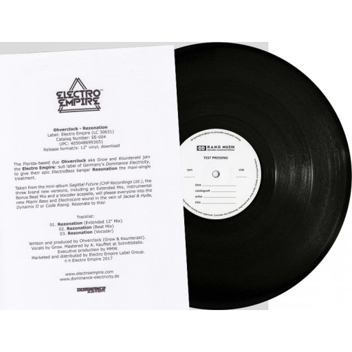 "Ohverclock - Rezonation (Electro Empire) 12"" test pressing"