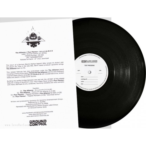 "The Alliance & Flux Flavour - A-L-L-I-A-N-C-E (Ground Control 2) 12"" test pressing"